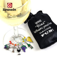 High Quality Bottle Wine Zinc Alloy Metal Or Plastic Wine Glass Charms For Industrial Bar