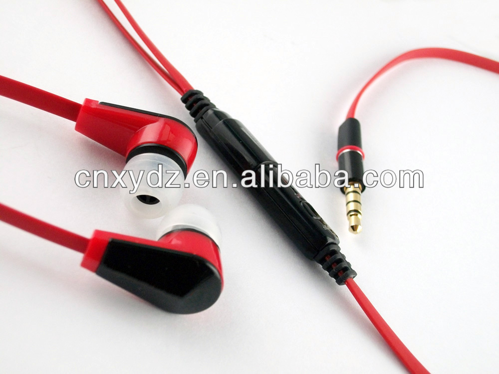 ultimate flat cable ear earphone with micfor laptop iphone mp3 mobile phone