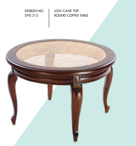 Low Cane Top Round Coffee Table