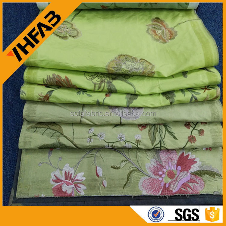 2015 new style embroidered silk organza fabric for home textile