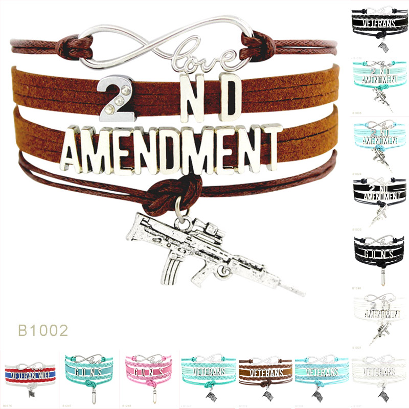 Infinity Love Jewelry Fashion High Quality Soldier Veteran 2nd Amendment Gun Flag Charm Leather Bracelets