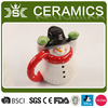 christmas ceramic snowman candy jars with cap handle