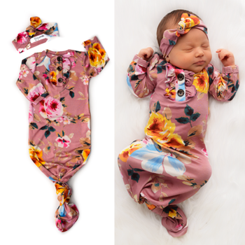 newborn cotton sleeppbag knot  baby floral pajamas unisex baby winter night gowns