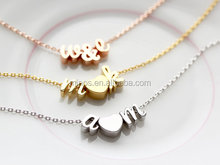 women thin gold chain necklace designs with Tiny Rose Gold Initials Script Letter Heart Charm