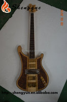 Shengque Natural Neck Through Carved Wood Star Inlay Electric Bass Guitar