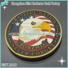 Top quality custom design die struck brass soft enamel filled challenge coin