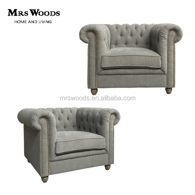 french linen upholstered tufted single seat grey fabric cheap chesterfield sofa