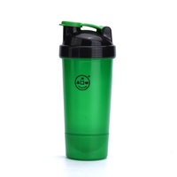 2016 newest shaker bottle with container on the bottom for protein bill or any powder flavor