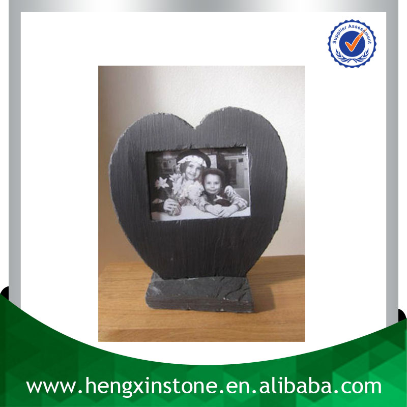 Factory Direct Price 25*25cm Handmade Decorative Natural Customized Laser Design Heart Slate Photo Picture Frames With Base