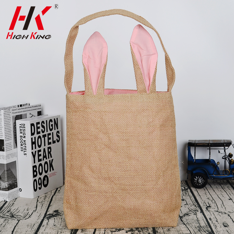 New style wholesale Easter bunny burlap shopping tote bags