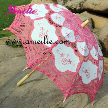 Embroidery dark pink battenburg lace parasols