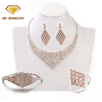 Top grade fashion design elegant brass necklaces jewelry sets