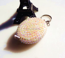 Promotional diamond measuring tape keychain