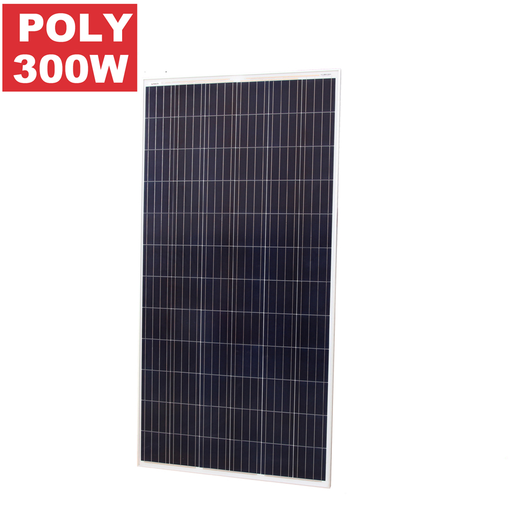 Poly Solar Panel, PV 300W Polycrystalline 72 Cell Solar Panel Module, Black BIPV Solar Panel