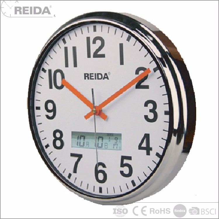 Reida quartz analog round metal wall clock year month day date