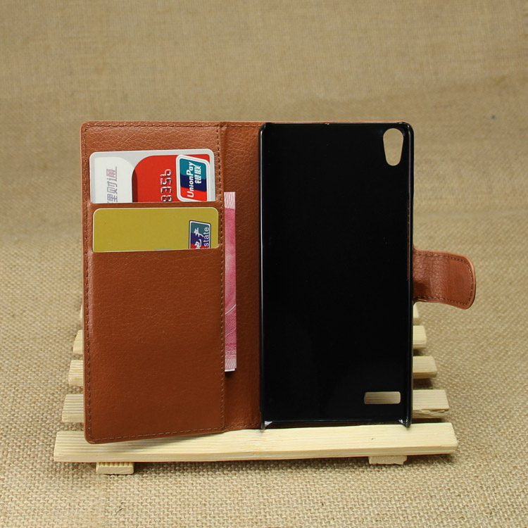 Top quality classical leather cover for huawei ascend p6