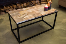 Coffee table/side table of petrified wood tiles