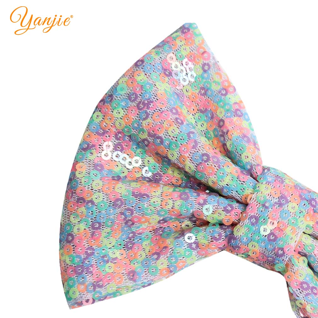 "5"" Kids Girl Rainbow Sequin Hair Bows Messy Glitter Hair Clip DIY Hair Accessories For Kids Barrette 2019 New Headwear For Baby"