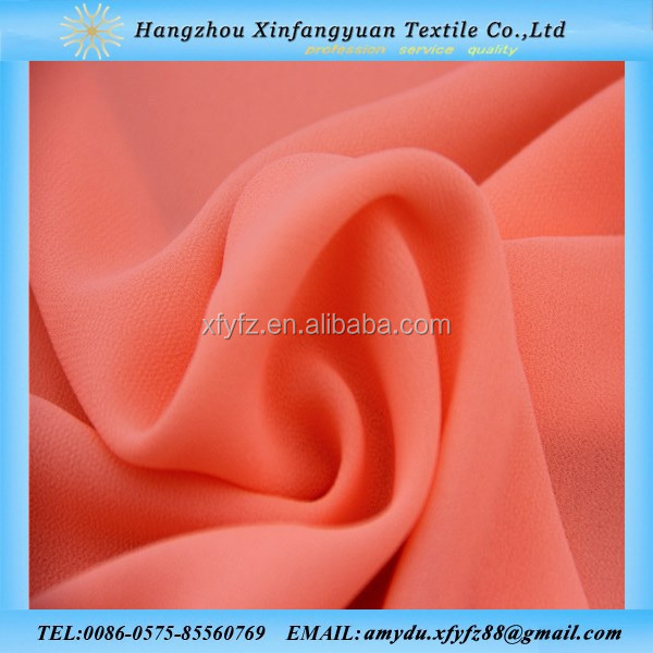 100% polyester moss crepe fabric plain dyed 75D poly chiffon fabric