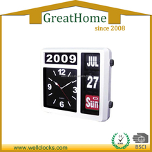 Plastic Auto Flip Table Clock Day Date Calendar Clock