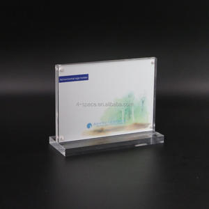 Horizontal magnetic a6 acrylic sign holder table frame with polished base thick acrylic block sign holder