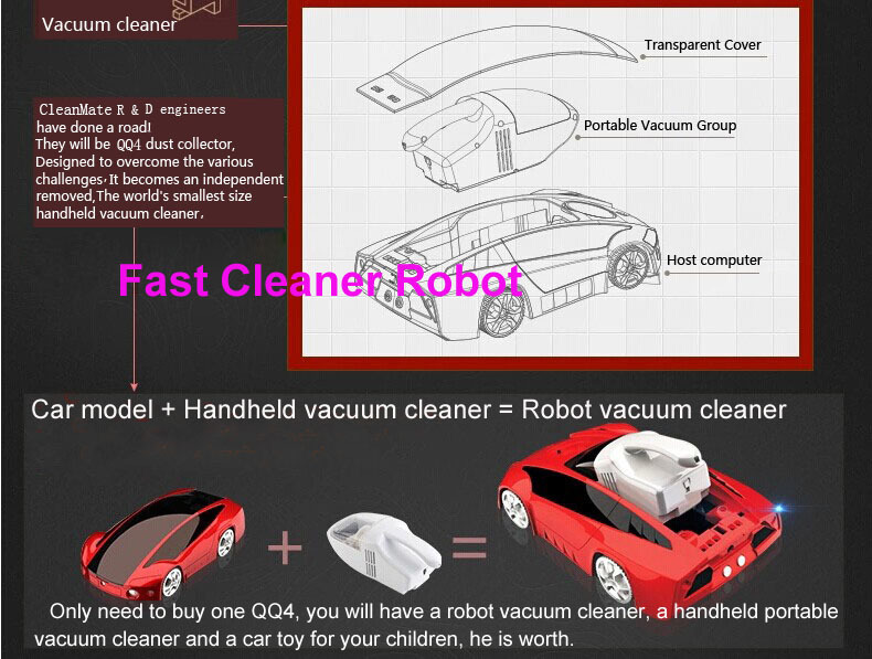 2017 Newest Car Styling Remote Control Automatic Vacuum Cleaner With Portable Handheld Vacuum Cleaner Double Use