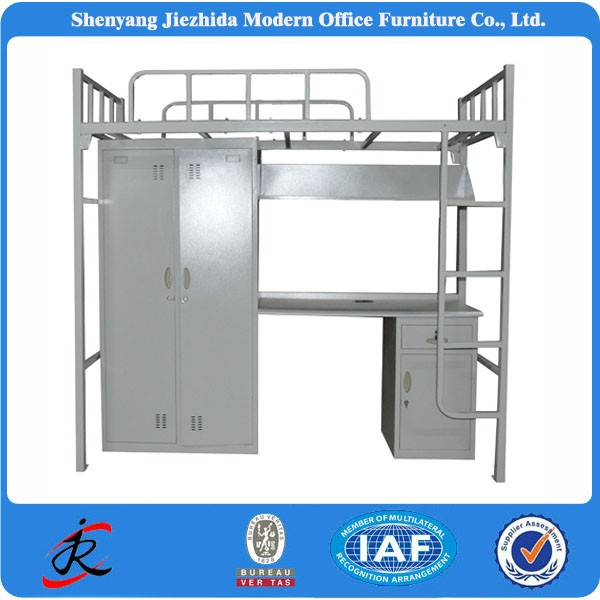 school modern dormitory double bed with lockers