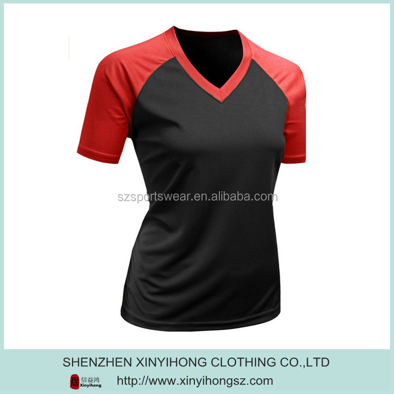 Best-selling 92% polyester +8%spandex ladies golf V-neck shirts with color combination