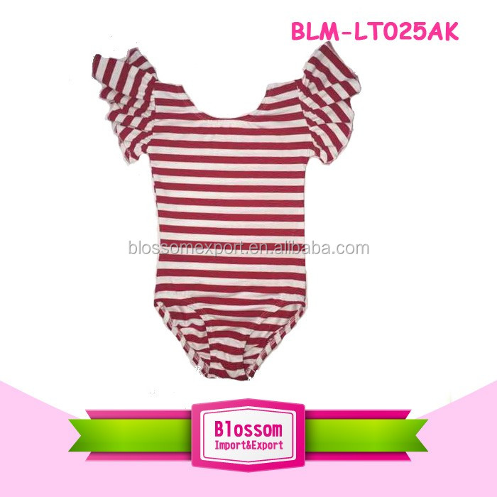 Plus size baby clothes cheap girl/toddle 100 cotton red stripe leotard flutter sleeve wholesale balle girl's dance leotards