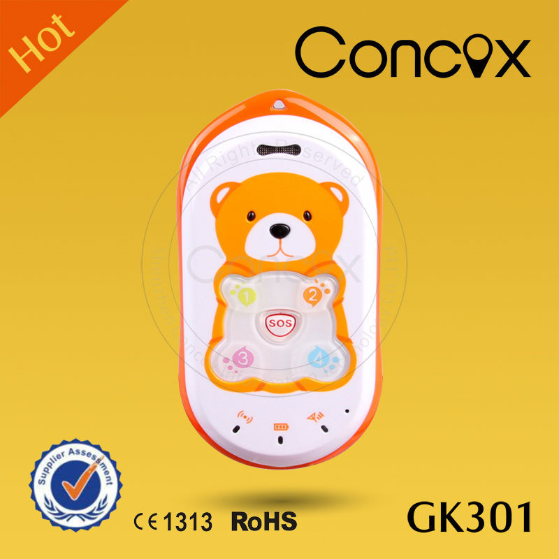 Concox Kid Positioning GPS Baby Bear Phone GK301 with Anti-assembly Design Low price China mobile phone