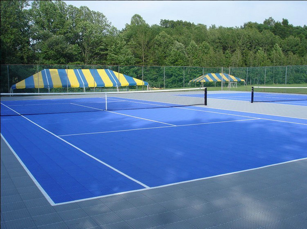 Suspended PP interlocking outdoor tennis court rubber mat