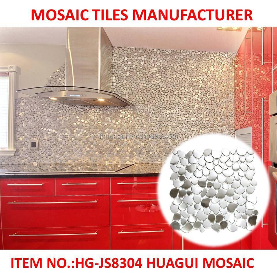 River Rock Stainless Steel mosaic decorative wall tiles design