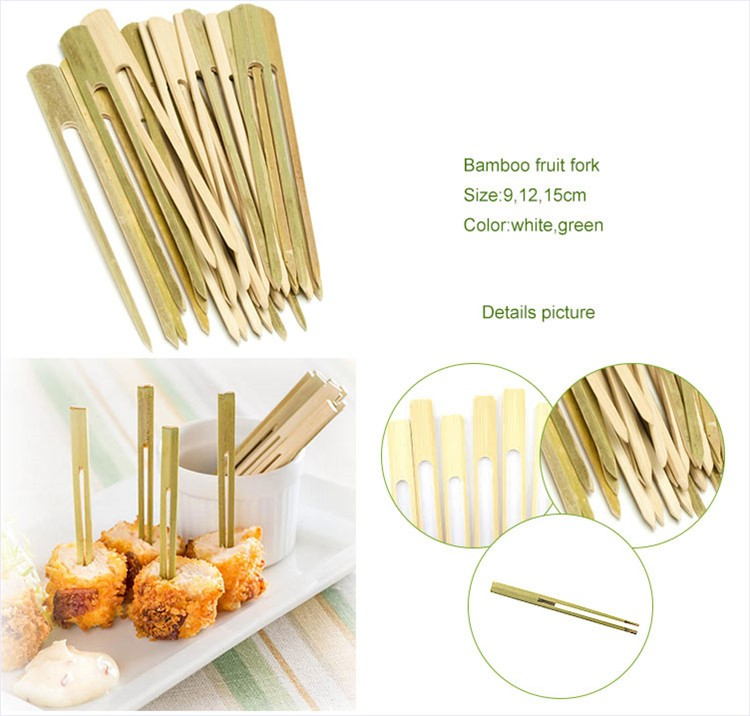 "Wholesale mini 3.5"" eating tool set bamboo fruit fork"