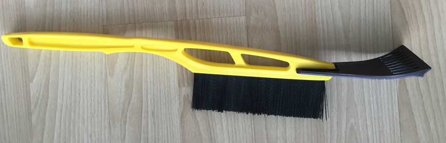 Long-handled plastic ice scraper with brush