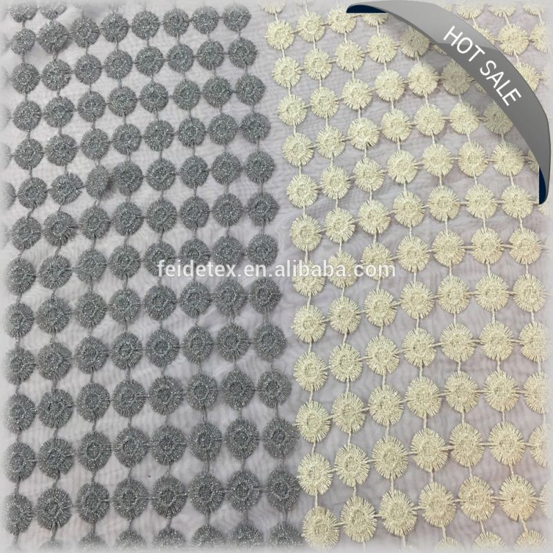 Hot sell embroidery cotton lace curtain fabric