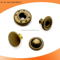 Metal rivet fasteners Anti-brass down jacket four parts brass metal snap button