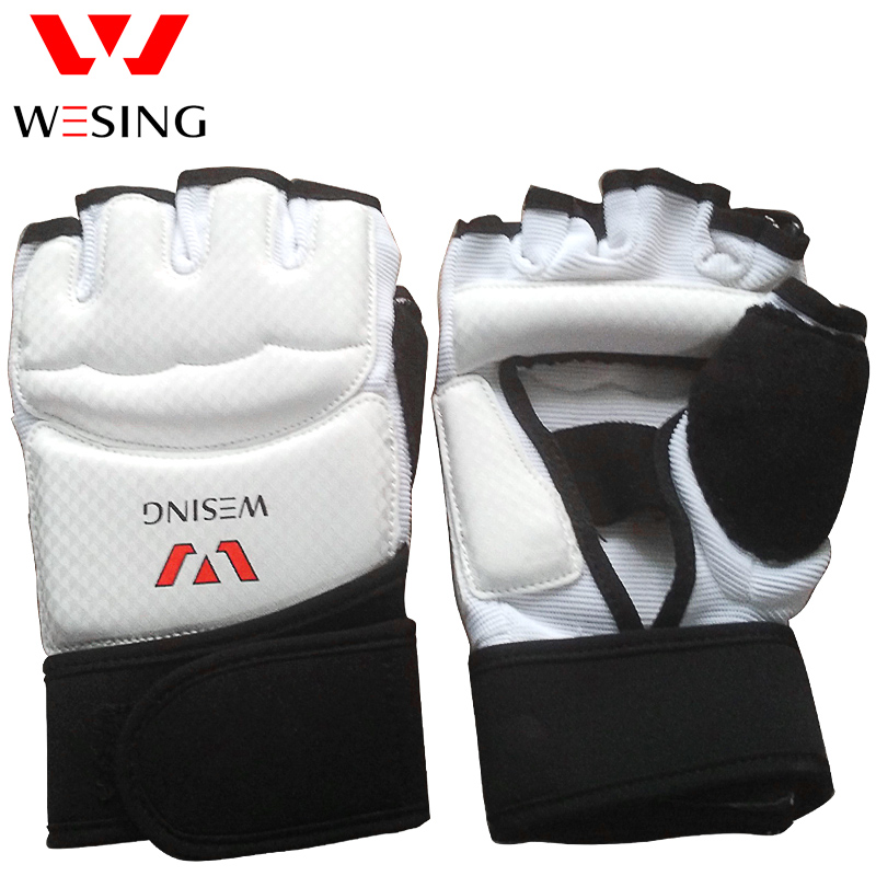 white pu leather taekwondo boxing gloves mitts half finger hand protector WTF sparring gear