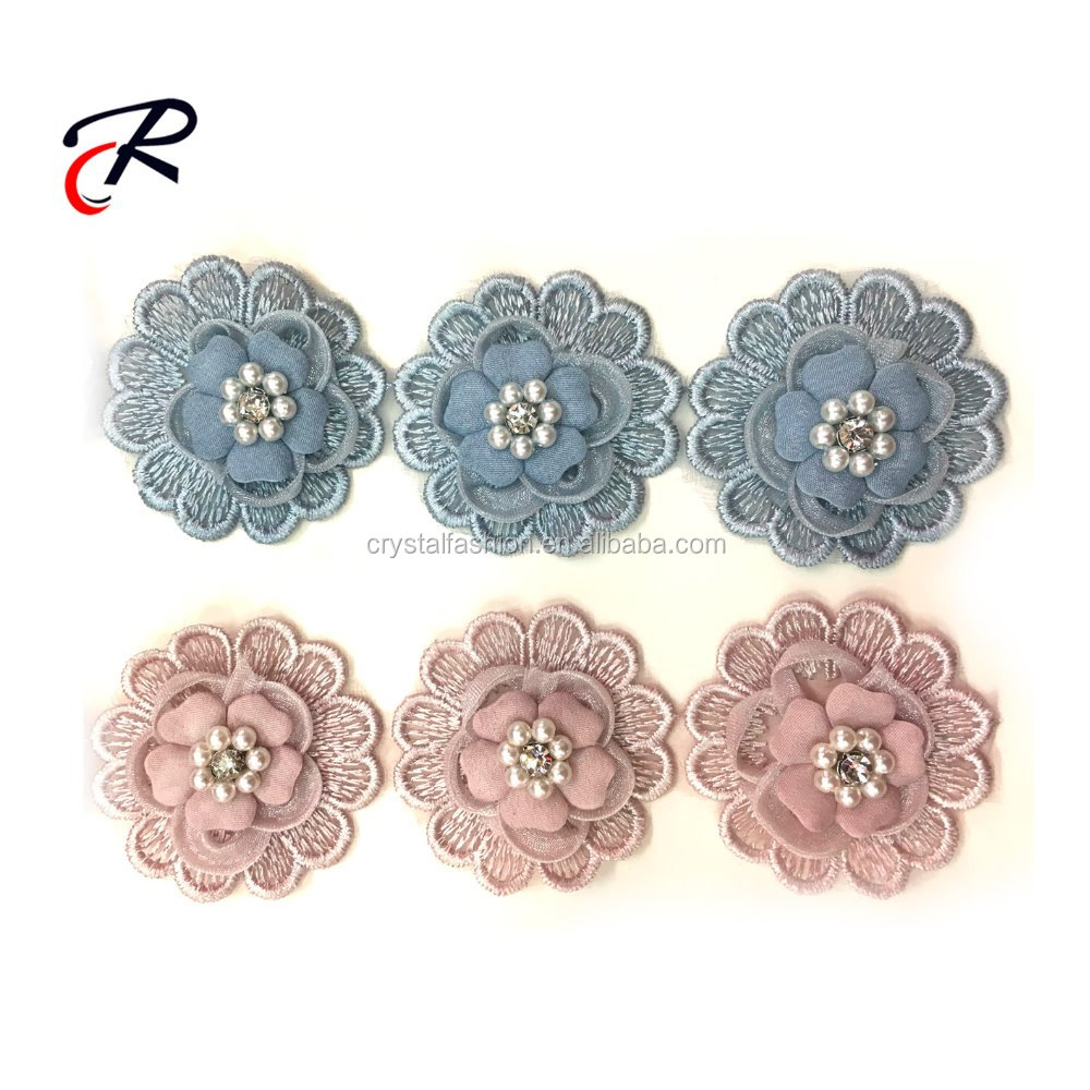 Wholesale handmade beaded rhinestone pearl flower applique embroidery 3d lace trim
