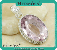 Vintage Jewelry Pink Kunzite Pink Crystal Topaz Pendant Sterling Silver Pendant Q9000