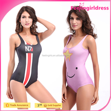 Factory price pink cute printed image lady sexy high cut one piece swimsuit