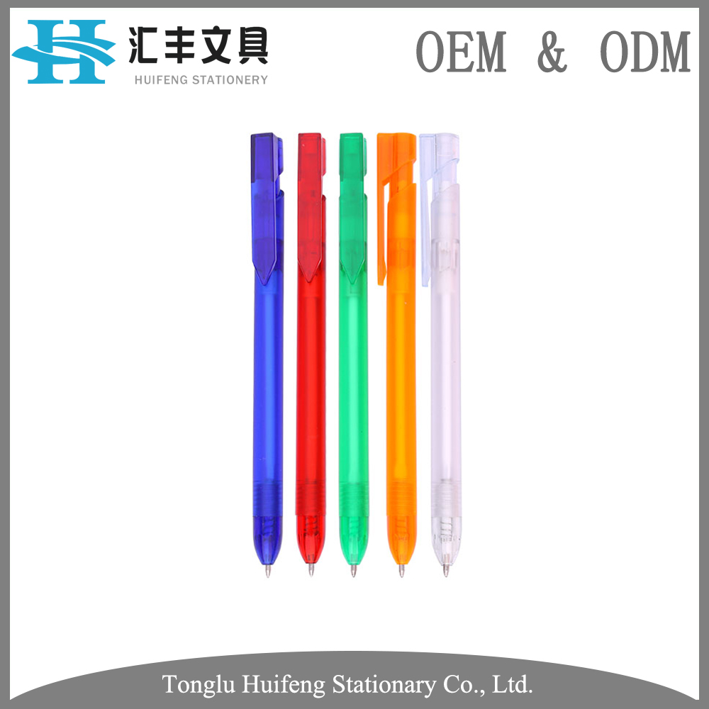 HF5230 custom color printing plastic barrel raw materials of transparent ball pen for promotion