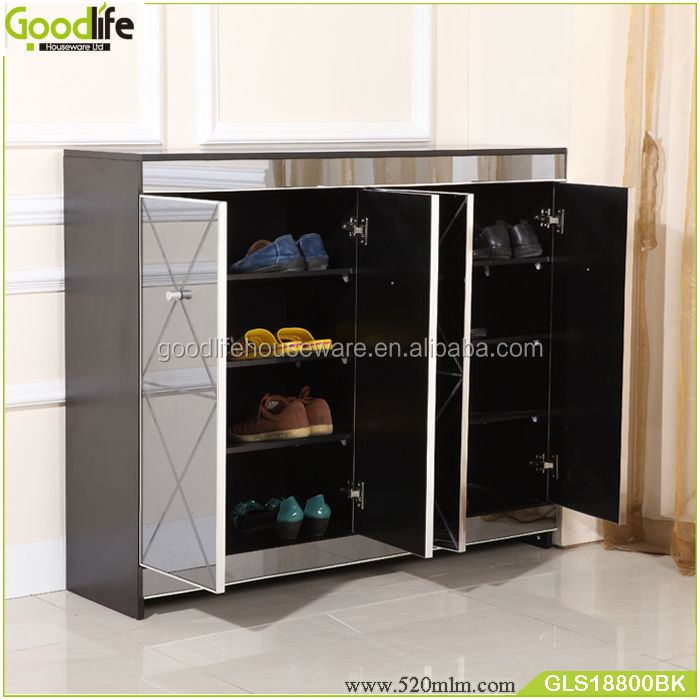 Shoes closet mirrored furniture with Printed pattern