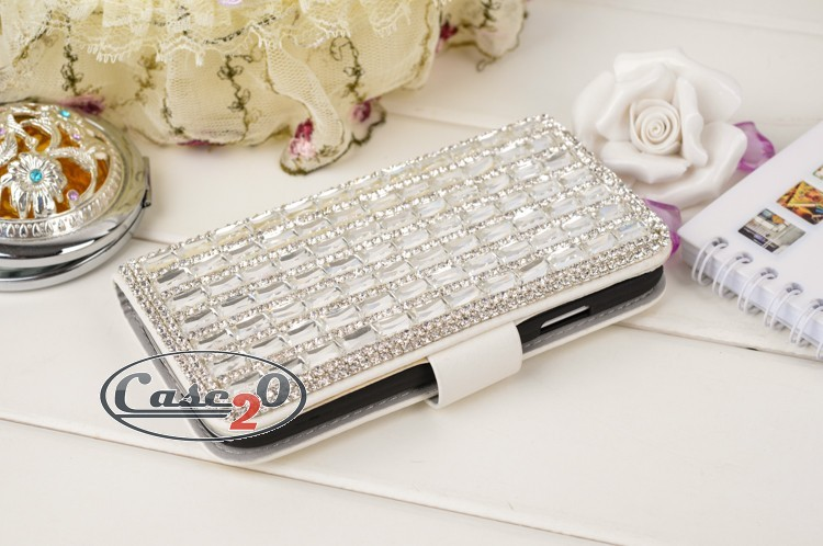 Case for Samsung Galaxy S3 Diamond Bling Silver Flip Case
