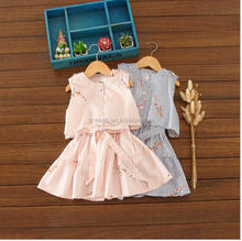 E0366A Stripe floret leave two dresses of the girls