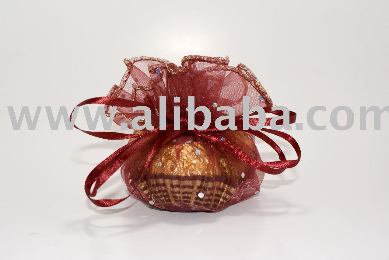 24cm Shining Dot Round Gift Bag (Organza) Red