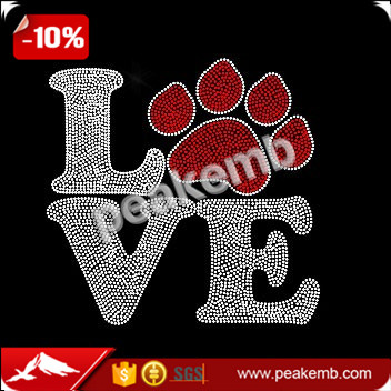 Custom love paw print heat press rhinestone transfers design for clothing wholesale