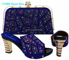 Hot Selling Full Stones Royal Blue Ladies Wedding Shoes And Bag to Match (IT088)