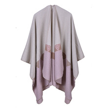 SF17212056 Indian Geometry Diamond Lengthen Thickening Imitate Cashmere Travel Shawl Cloak Poncho