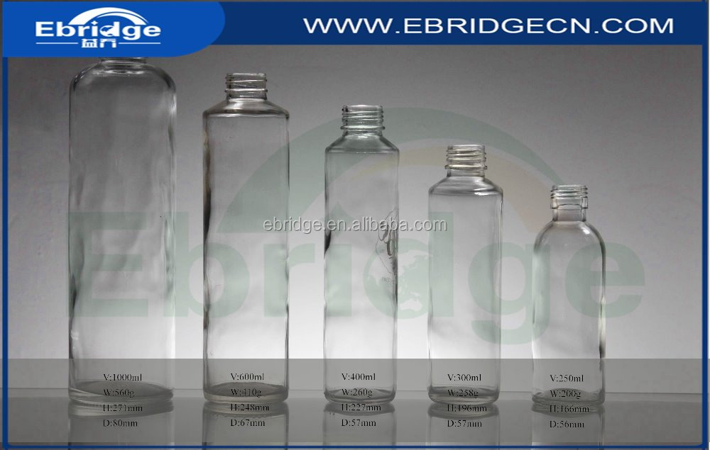 cylinder shape spring water glass beverage bottles with plastic top
