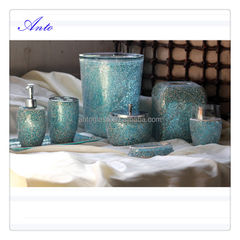 Hot Sale Blue Color Luxury Mosaic Glass Bathroom Accessories Sets